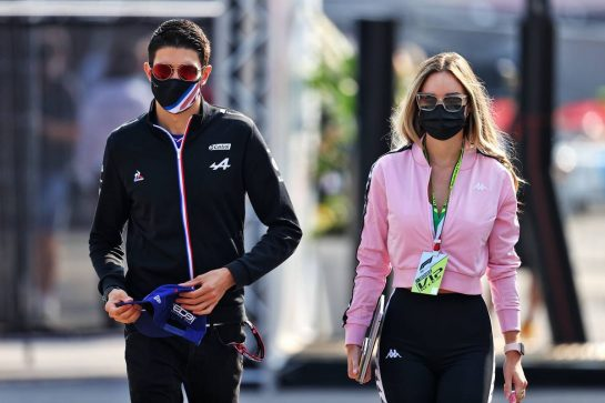 Esteban Ocon (FRA) Alpine F1 Team with his girlfriend Elena Berri (ITA). 11.09.2021. Formula 1 World Championship, Rd 14, Italian Grand Prix, Monza, Italy, Sprint Day. - www.xpbimages.com, EMail: requests@xpbimages.com © Copyright: Moy / XPB Images