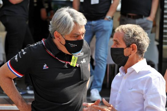 (L to R): Luca de Meo (ITA) Groupe Renault Chief Executive Officer with Alain Prost (FRA) Alpine F1 Team Non-Executive Director. 12.09.2021. Formula 1 World Championship, Rd 14, Italian Grand Prix, Monza, Italy, Race Day. - www.xpbimages.com, EMail: requests@xpbimages.com © Copyright: Moy / XPB Images