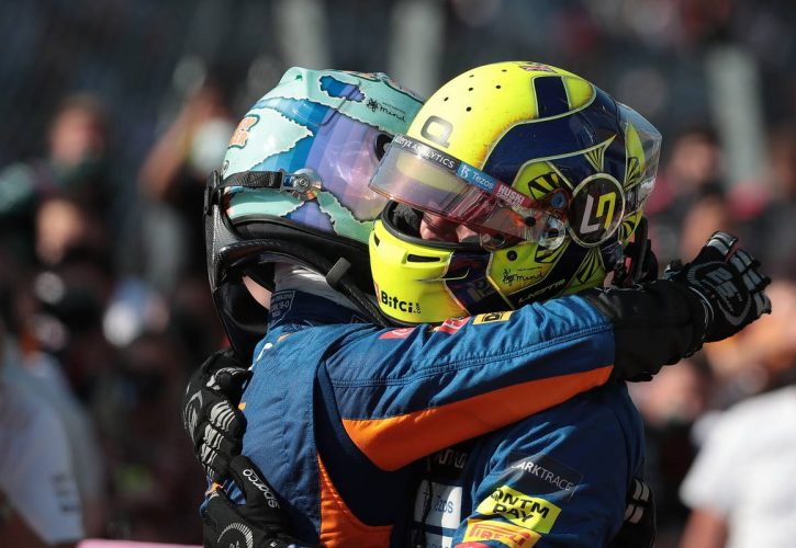Daniel Ricciardo (AUS) McLaren MCL35M and Lando Norris (GBR) McLaren MCL35M. 12.09.2021. Formula 1 World Championship, Rd 14, Italian Grand Prix, Monza