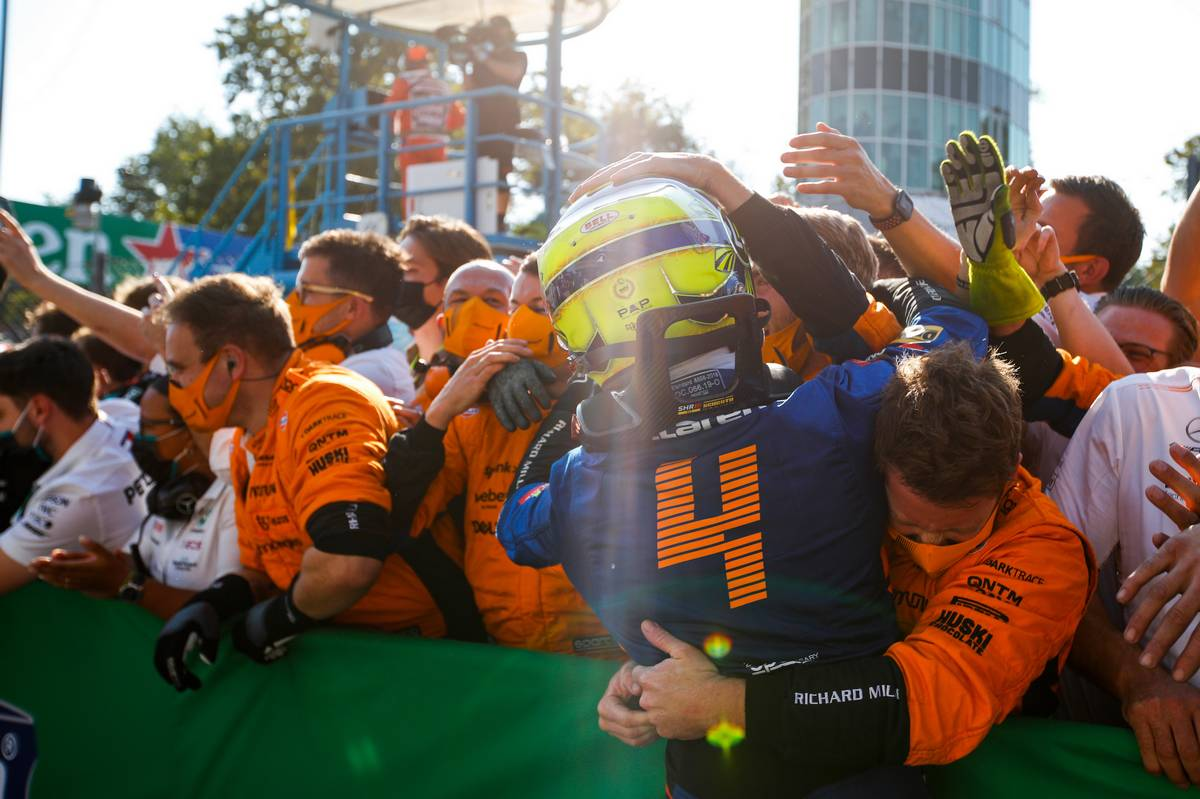 Lando Norris (GBR) McLaren celebrates his second position with the team in parc ferme. 12.09.2021. Formula 1 World Championship, Rd 14, Italian Grand Prix, Monza