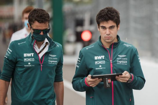 Lance Stroll (CDN) Aston Martin F1 Team walks the circuit with the team. 23.09.2021. Formula 1 World Championship, Rd 15, Russian Grand Prix, Sochi Autodrom, Sochi, Russia, Preparation Day. - www.xpbimages.com, EMail: requests@xpbimages.com © Copyright: Bearne / XPB Images