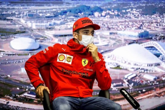 Charles Leclerc (MON) Ferrari in the FIA Press Conference. 23.09.2021. Formula 1 World Championship, Rd 15, Russian Grand Prix, Sochi Autodrom, Sochi, Russia, Preparation Day. - www.xpbimages.com, EMail: requests@xpbimages.com © Copyright: FIA Pool Image for Editorial Use Only