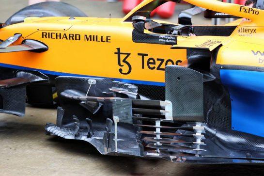 McLaren MCL35M sidepod detail. 23.09.2021. Formula 1 World Championship, Rd 15, Russian Grand Prix, Sochi Autodrom, Sochi, Russia, Preparation Day. - www.xpbimages.com, EMail: requests@xpbimages.com © Copyright: Moy / XPB Images