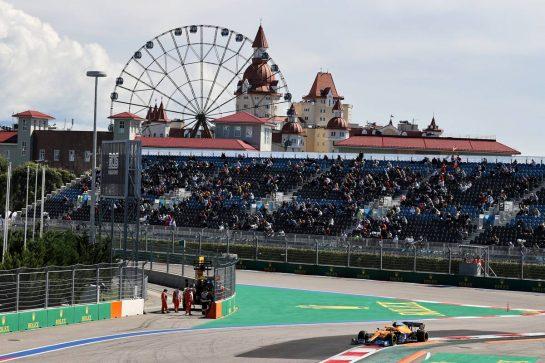 Lando Norris (GBR) McLaren MCL35M. 24.09.2021. Formula 1 World Championship, Rd 15, Russian Grand Prix, Sochi Autodrom, Sochi, Russia, Practice Day. - www.xpbimages.com, EMail: requests@xpbimages.com © Copyright: Moy / XPB Images