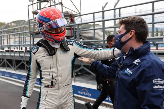 George Russell (GBR) Williams Racing FW43B celebrates 3rd position in qualifying parc ferme.25.09.2021. Formula 1 World Championship, Rd 15, Russian Grand Prix, Sochi Autodrom, Sochi, Russia, Qualifying Day.- www.xpbimages.com, EMail: requests@xpbimages.com © Copyright: Batchelor / XPB Images