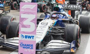 Third placed George Russell (GBR) Williams Racing FW43B in qualifying parc ferme. 25.09.2021. Formula 1 World Championship, Rd 15, Russian Grand Prix, Sochi