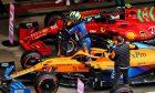 Lando Norris (GBR) McLaren MCL35M celebrates his pole position in qualifying parc ferme. 25.09.2021. Formula 1 World Championship, Rd 15, Russian Grand Prix, Sochi