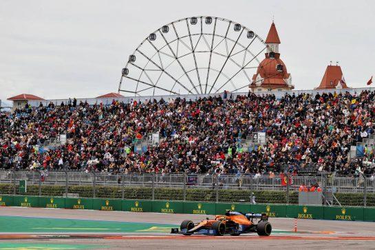 Lando Norris (GBR) McLaren MCL35M. 26.09.2021. Formula 1 World Championship, Rd 15, Russian Grand Prix, Sochi Autodrom, Sochi, Russia, Race Day. - www.xpbimages.com, EMail: requests@xpbimages.com © Copyright: Moy / XPB Images