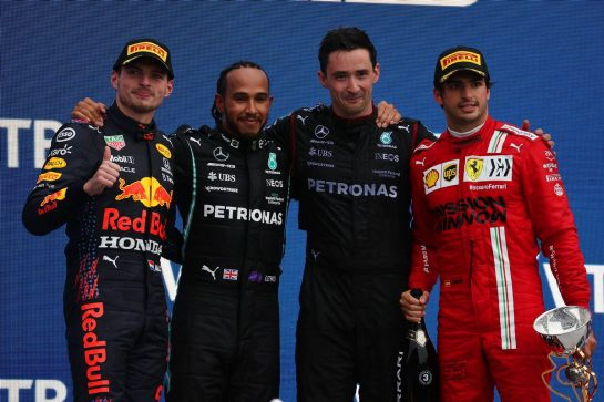 1st place Lewis Hamilton (GBR) Mercedes AMG F1 W12 with 2nd place Max Verstappen (NLD) Red Bull Racing RB16B and 3rd place Carlos Sainz Jr (ESP) Ferrari SF-21. 26.09.2021. Formula 1 World Championship, Rd 15, Russian Grand Prix, Sochi Autodrom, Sochi, Russia, Race Day. - www.xpbimages.com, EMail: requests@xpbimages.com © Copyright: Batchelor / XPB Images