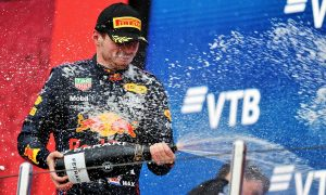 Max Verstappen (NLD) Red Bull Racing celebrates his second position on the podium. 26.09.2021. Formula 1 World Championship, Rd 15, Russian Grand Prix, Sochi