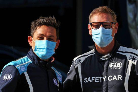 (L to R): Bruno Correia (POR) FIA Medical Car Driver with Bernd Maylander (GER) FIA Safety Car Driver. 07.10.2021. Formula 1 World Championship, Rd 16, Turkish Grand Prix, Istanbul, Turkey, Preparation Day. - www.xpbimages.com, EMail: requests@xpbimages.com © Copyright: Moy / XPB Images