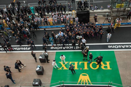 The podium: Max Verstappen (NLD) Red Bull Racing, second; Valtteri Bottas (FIN) Mercedes AMG F1, race winner; Sergio Perez (MEX) Red Bull Racing, third. 10.10.2021. Formula 1 World Championship, Rd 16, Turkish Grand Prix, Istanbul, Turkey, Race Day. - www.xpbimages.com, EMail: requests@xpbimages.com © Copyright: Bearne / XPB Images