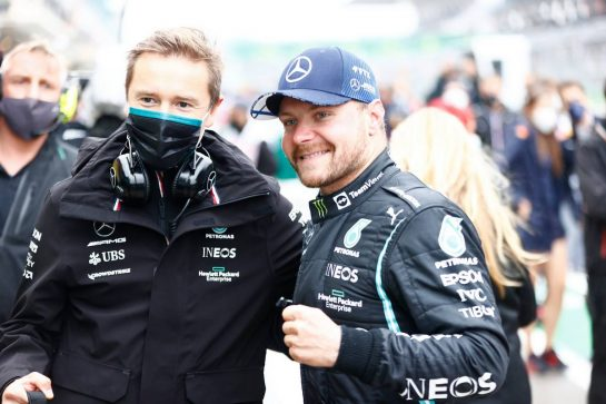 Race winner Valtteri Bottas (FIN) Mercedes AMG F1 with Antti Vierula (FIN) Personal Trainer in parc ferme. 10.10.2021. Formula 1 World Championship, Rd 16, Turkish Grand Prix, Istanbul, Turkey, Race Day. - www.xpbimages.com, EMail: requests@xpbimages.com © Copyright: FIA Pool Image for Editorial Use Only