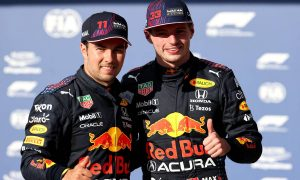 Pole for Max Verstappen (NLD) Red Bull Racing RB16B and 3rd for Sergio Perez (MEX) Red Bull Racing RB16B. 23.10.2021. Formula 1 World Championship, Rd 17, United States Grand Prix, Austin,